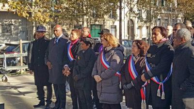 """George Pau-Langevin le 11 novembre 2016 sur l'Esplanade des Villes """"Compagnon de Libération"""" en commémoration du 11 novembre."""