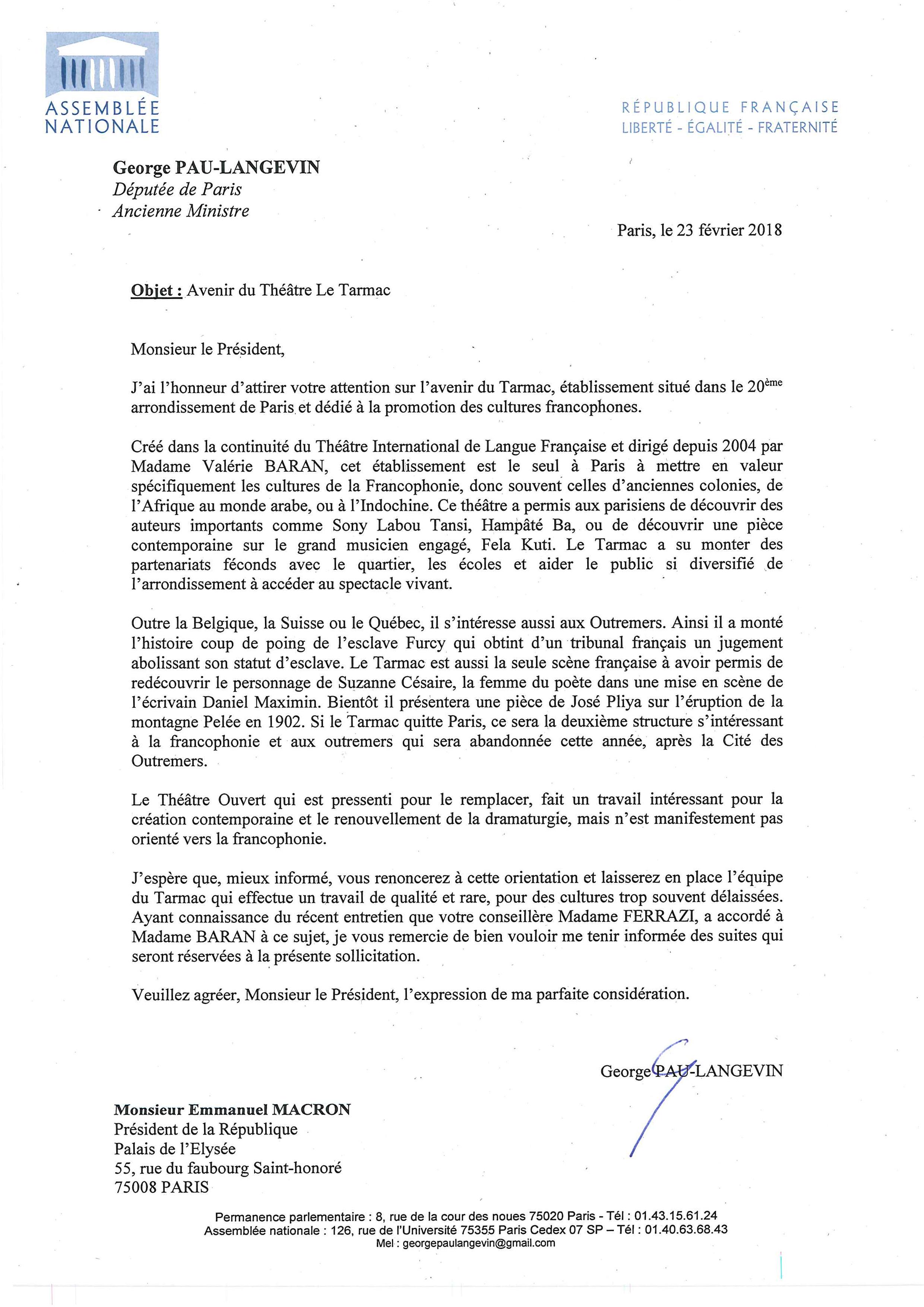 Lettre au Président Macron